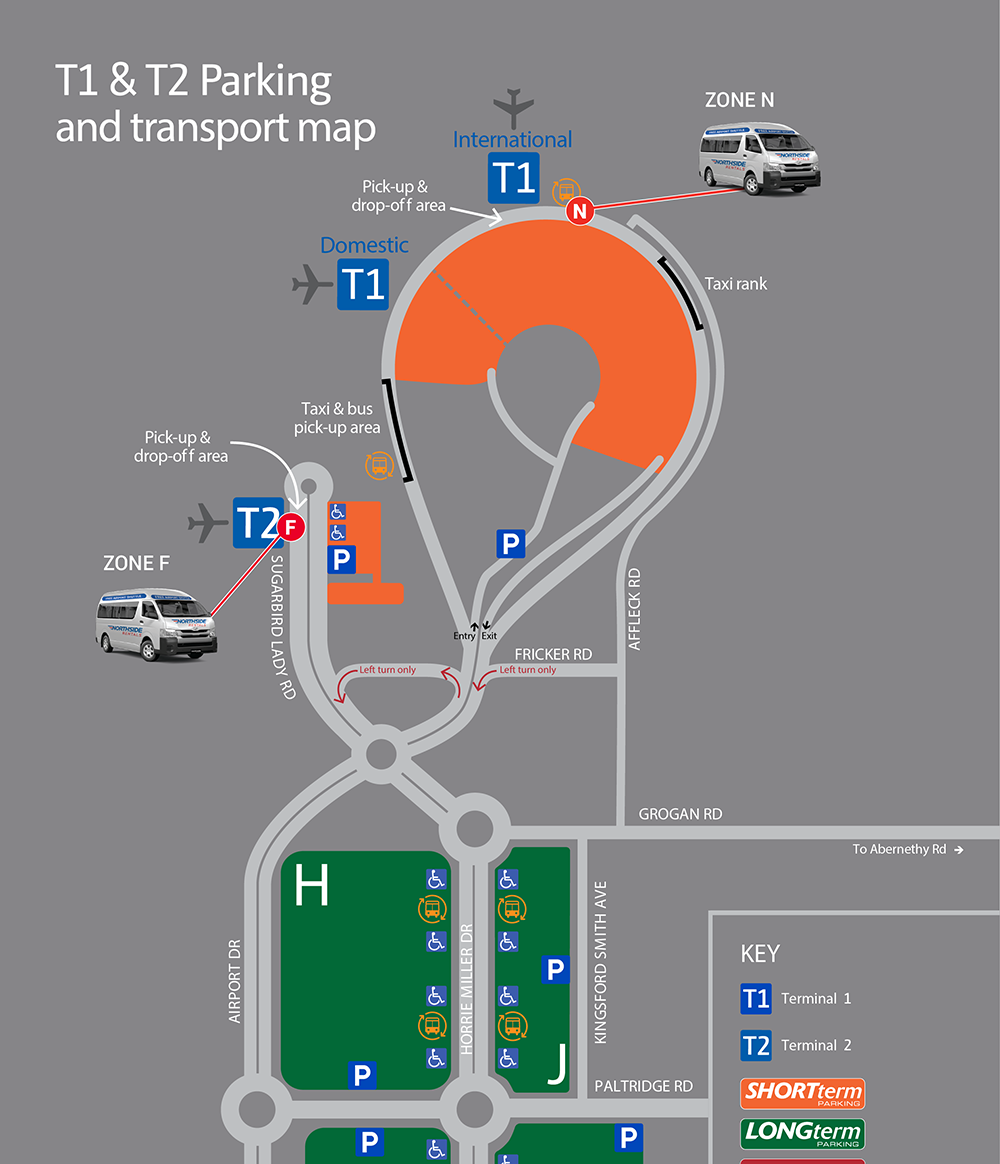 Perth Airport Pickup Map T1 and T2
