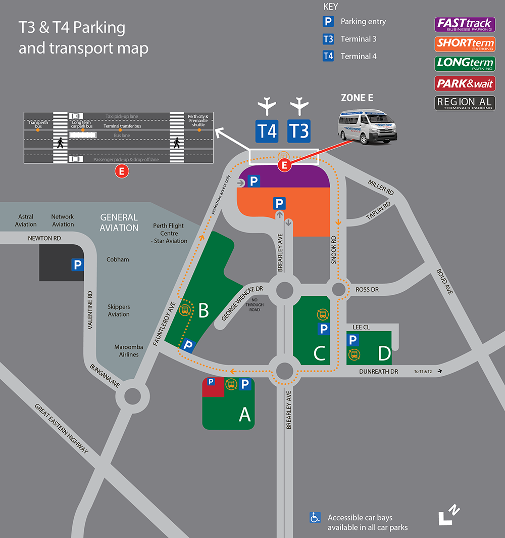Perth Airport Pickup Map T3 and T4